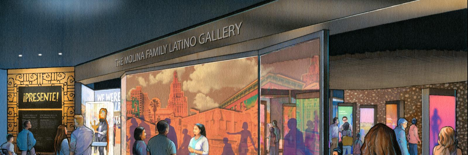Artistic rendering of the entrance to the Molina Family Latino Gallery