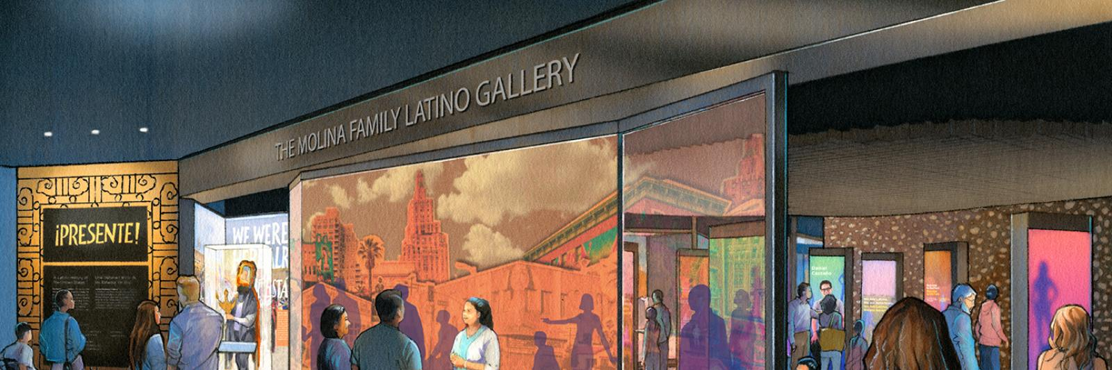 Artist rendering of the entrance to the Molina Family Latino Gallery.