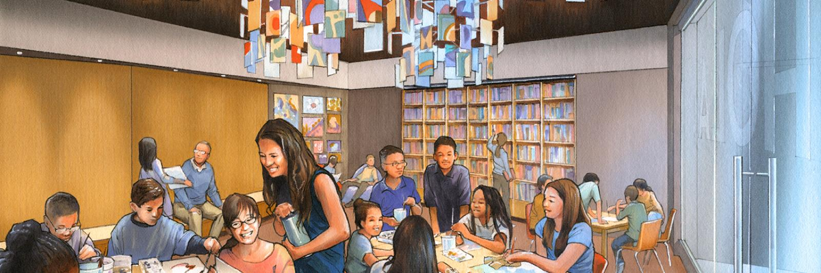 Artist rendering of the Learning Lounge in the Molina Family Latino Gallery.