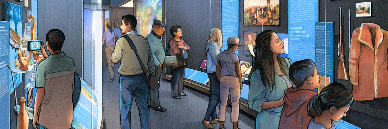 Artist watercolor rendering of an exhibition case in the Molina Family Latino Gallery