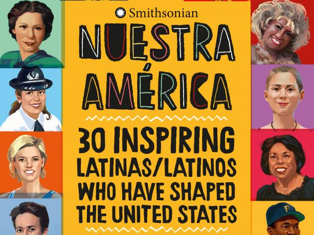 The book cover for Nuestra America features illustrated portraits around borders